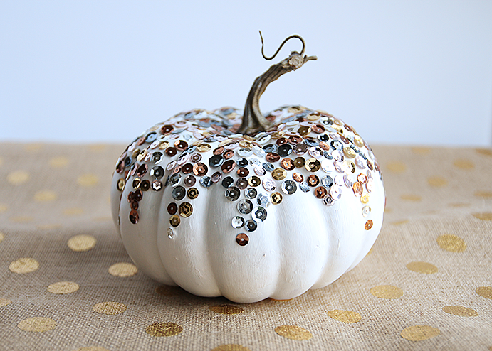 Diy Sequined Pumpkin Spray Paint Amp Chardonnay