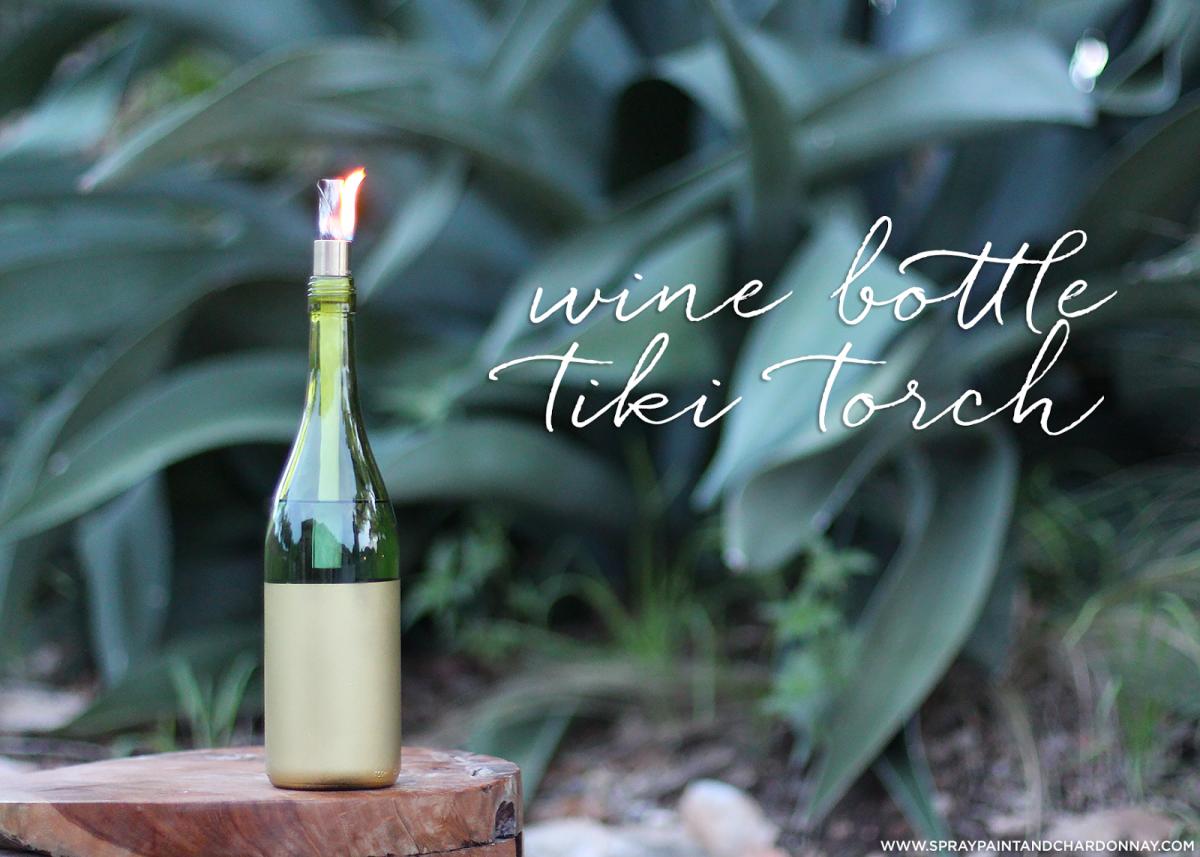 Diy Wine Bottle Tiki Torch Spray Paint Chardonnay