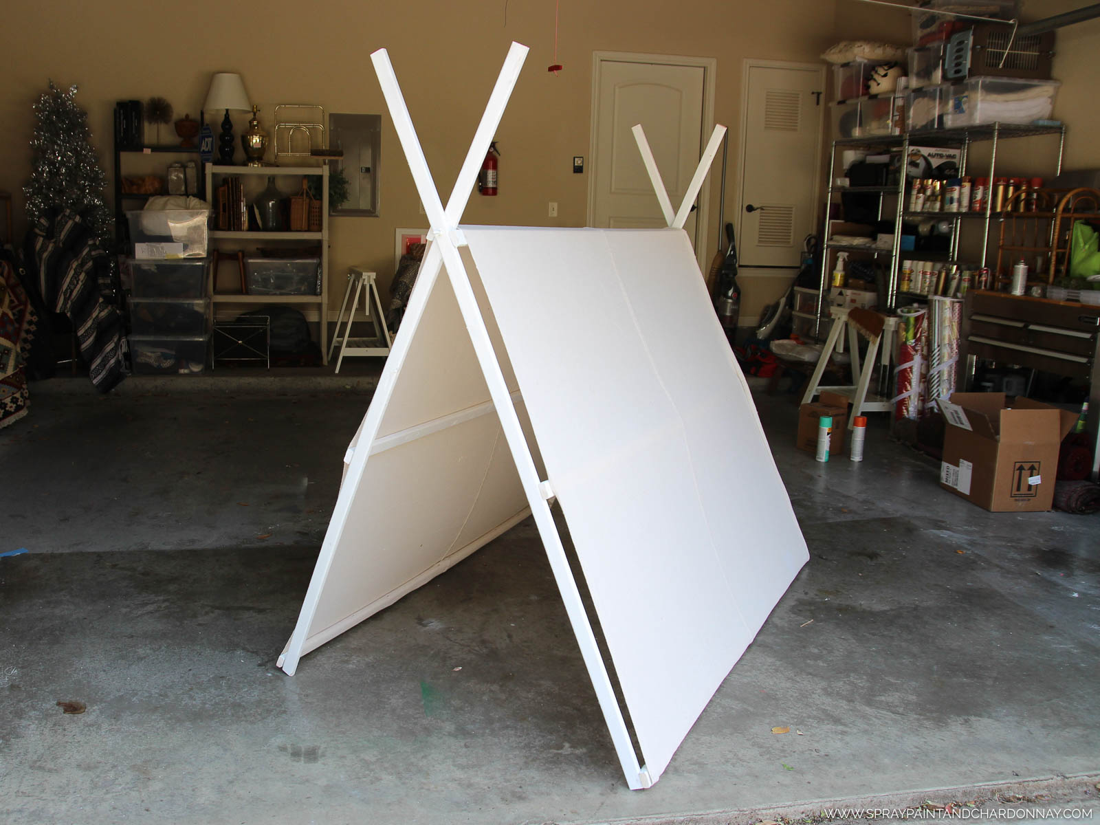 If you wanted you could paint your design on your drop cloth prior to attaching it to the frame but I wasnu0027t sure how the cloth would stretch after I ... & DIY: A-Frame Tent | Spray Paint u0026 Chardonnay