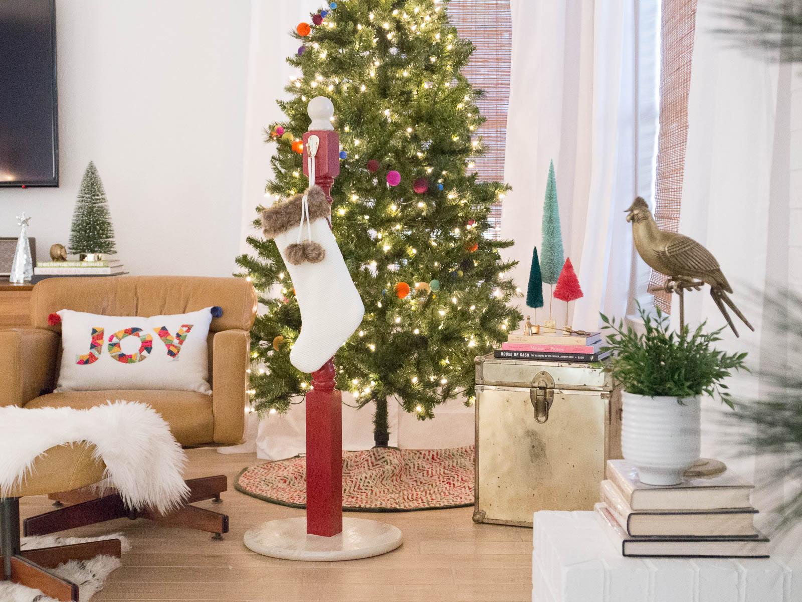 Diy standing stocking holder spray paint chardonnay
