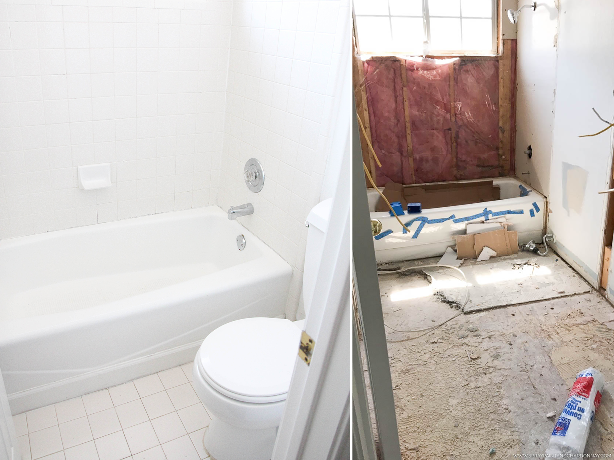 BEFORE & AFTER: GUEST BATHROOM | Spray Paint & Chardonnay